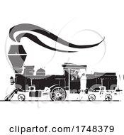 Woodcut Style Steam Locomotive