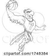 Bald Eagle Mascot Dunking A Basketball Black And White