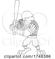 Bald Eagle Mascot Baseball Player Batting Black And White