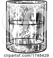 Drinks Glass In Woodcut Engraved Etching Style