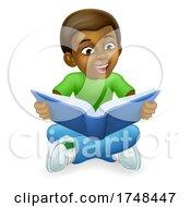 Black Child Boy Cartoon Kid Reading Book by AtStockIllustration