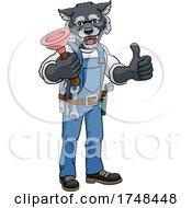 Wolf Plumber Cartoon Mascot Holding Plunger
