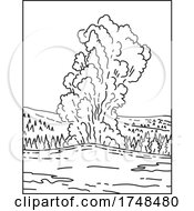 A Cone Geyser Called Old Faithful Located In Yellowstone National Park In Wyoming United States Mono Line Or Monoline Black And White Line Art