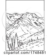 Summit Of Glacier Clad Mount Olympus In Olympic National Park Located In Washington State United States Mono Line Or Monoline Black And White Line Art