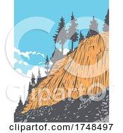 Rock Formation Of Columnar Basalt Called Devils Postpile In Devils Postpile National Monument Near Mammoth Mountain California United States WPA Poster Art