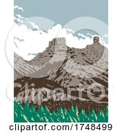 Chimney Rock And Companion Rock Within The Chimney Rock National Monument Part Of San Juan National Forest In Colorado United States WPA Poster Art