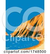 A Beach In Santa Cruz Island Located In The Channel Islands National Park California USA WPA Poster Art