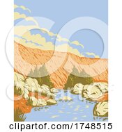 Badger Springs Canyon And The Agua Fria River Located In Agua Fria National Monument In Arizona USA WPA Poster Art