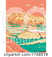Dramatic Landscape Of Layered Rock Formations In Badlands National Park South Dakota United States Of America WPA Poster Art