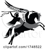 Poster, Art Print Of Parachute Regiment Airborne Forces Showing An English British Knight Warrior Riding A Winged Horse Or Pegasus With Lance Or Spear Military Badge Black And White