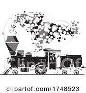 Woodcut Style Covid 19 Locomotive