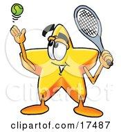 Star Mascot Cartoon Character Preparing To Hit A Tennis Ball