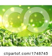 Poster, Art Print Of 3d Green Leaves On Bokeh Lights Background
