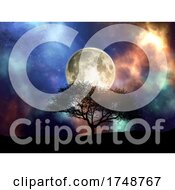 3d Silhouette Of A Tree Against A Space Sky With Moon