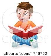 Poster, Art Print Of Boy Child Kid Cartoon Character Reading A Book