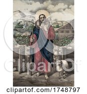 Jesus The Good Shepherd WIth His Flock With Man Running From A Wolf In The Background