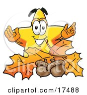 Clipart Picture Of A Star Mascot Cartoon Character With Autumn Leaves And Acorns In The Fall by Toons4Biz