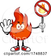Cartoon Flame Character Holding A No Fires Sign