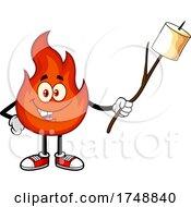 Cartoon Flame Character Roasting A Marshmallow