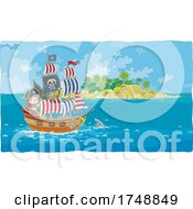 Boy Sailing A Pirate Ship Near A Shark By An Island