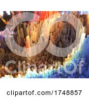 Poster, Art Print Of 3d Abstract Landscape Of Extruding Cubes