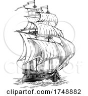 Poster, Art Print Of Old Fashioned Ship Vintage Etching Woodcut Style