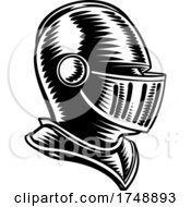 Poster, Art Print Of Medieval Knight Head Helmet Vintage Woodcut Style