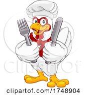 Poster, Art Print Of Chef Chicken Rooster Cockerel Knife Fork Cartoon