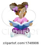 Black Girl Child Cartoon Kid Reading Book by AtStockIllustration