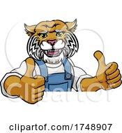 Wildcat Mascot Plumber Mechanic Handyman Worker