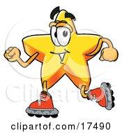 Star Mascot Cartoon Character Roller Blading On Inline Skates