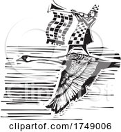 Woodcut Style Swan And Trumpeter