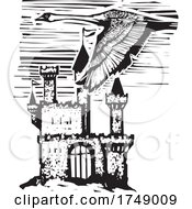 Woodcut Style Swan Over Castle