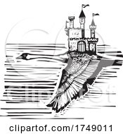 Woodcut Style Swan And Castle