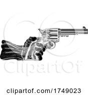 Hand And Western Cowboy Gun Pistol Vintage Woodcut