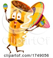 Poster, Art Print Of Mexican Burrito Playing Maracas