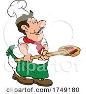 Cartoon Italian Chef Cooking Pizza