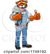 Tiger Mascot Carpenter Handyman Holding Hammer