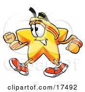 Star Mascot Cartoon Character Speed Walking Or Jogging