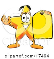Star Mascot Cartoon Character Holding A Yellow Sales Price Tag
