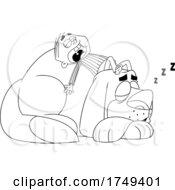 Black And White Cartoon Boy Sleeping On Top Of His Giant Mastiff Dog