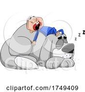 Cartoon Boy Sleeping On Top Of His Giant Mastiff Dog