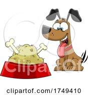 Cartoon Dog Wagging His Taile At A Food Dish