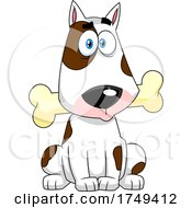 Cartoon Bull Terrier Dog Sitting with a Bone in Its Mouth by Hit Toon #COLLC1749412-0037