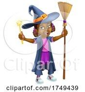 Black Girl Cartoon Child Halloween Witch Costume