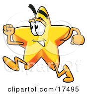 Clipart Picture Of A Star Mascot Cartoon Character Running by Toons4Biz
