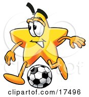 Clipart Picture Of A Star Mascot Cartoon Character Kicking A Soccer Ball by Toons4Biz