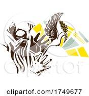 Woodcut Man Releasing Dove