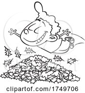 Cartoon Black And White Boy Diving In To Autumn Leaves