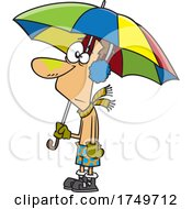 Cartoon Man Confused With The Weather